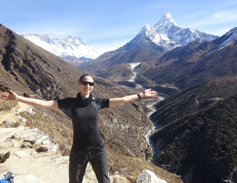 Picture from the trek to Dingboche. You can tell my smile is a tad fixed. I was feeling fairly awful, but trying to stay positive!