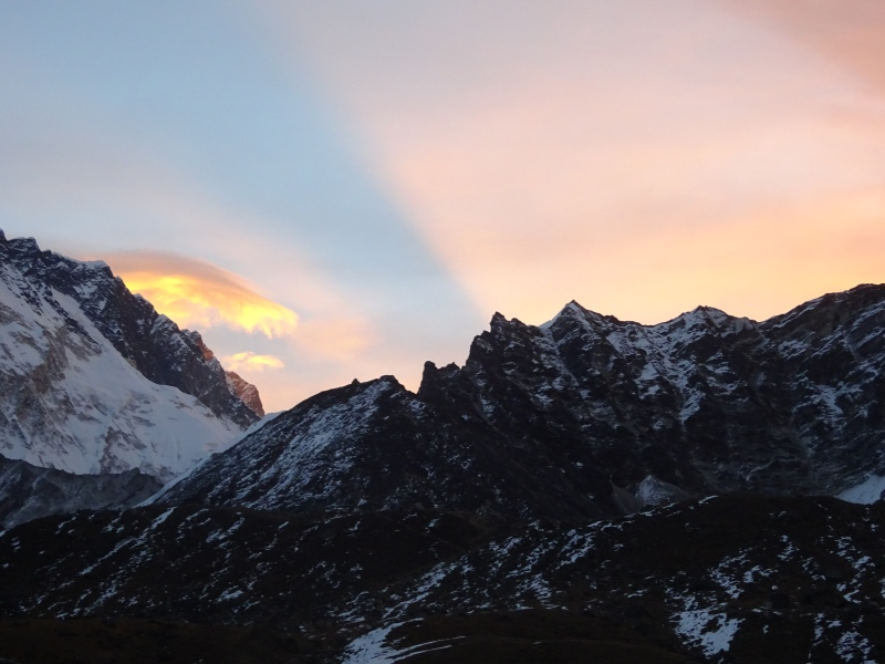 Sun rising on our trek to Gorak Shep. Hurry up and warm us please!