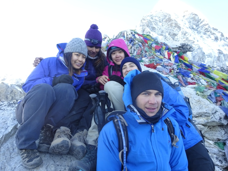 Five from our group on the summit. So exhausted! So happy! So cold!